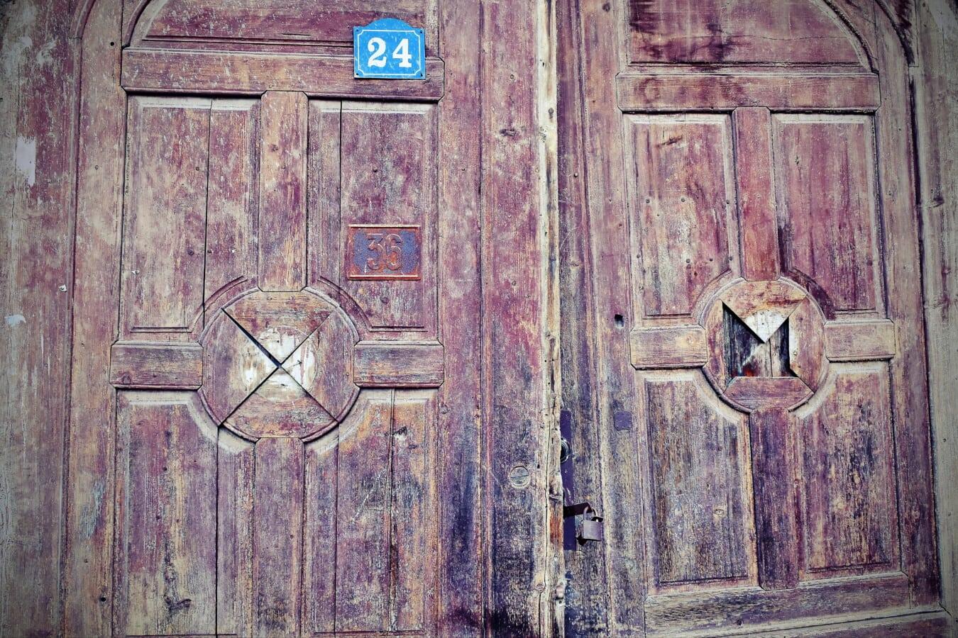 Verfall, aus Holz, Grunge, vor der Tür, Tor, Hartholz, Eiche, Tür, Tür, Retro