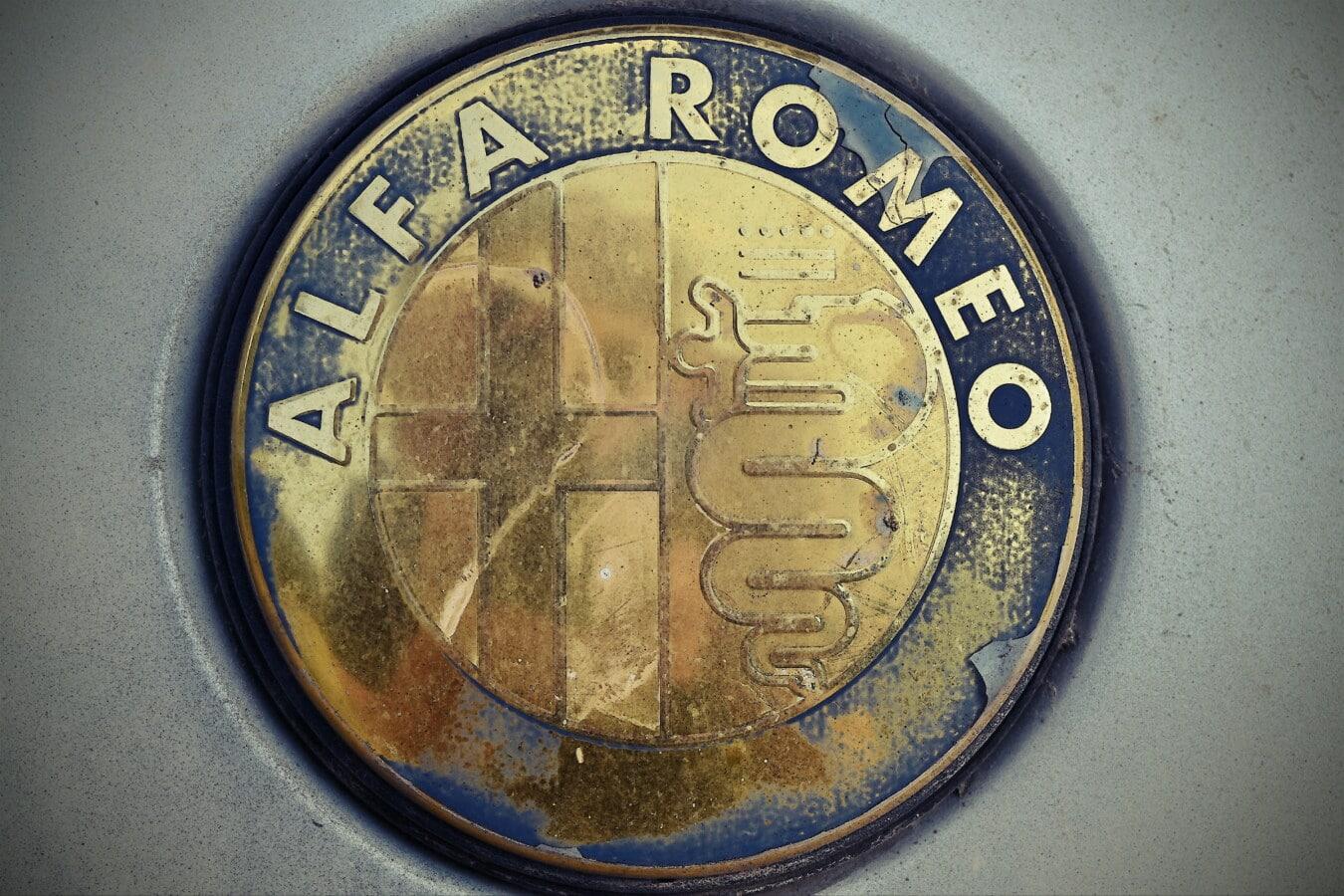 Alfa Romeo, aus nächster Nähe, Symbol, dreckig, Verfall, alt, Altmodisch, metallische, Chrom, Retro