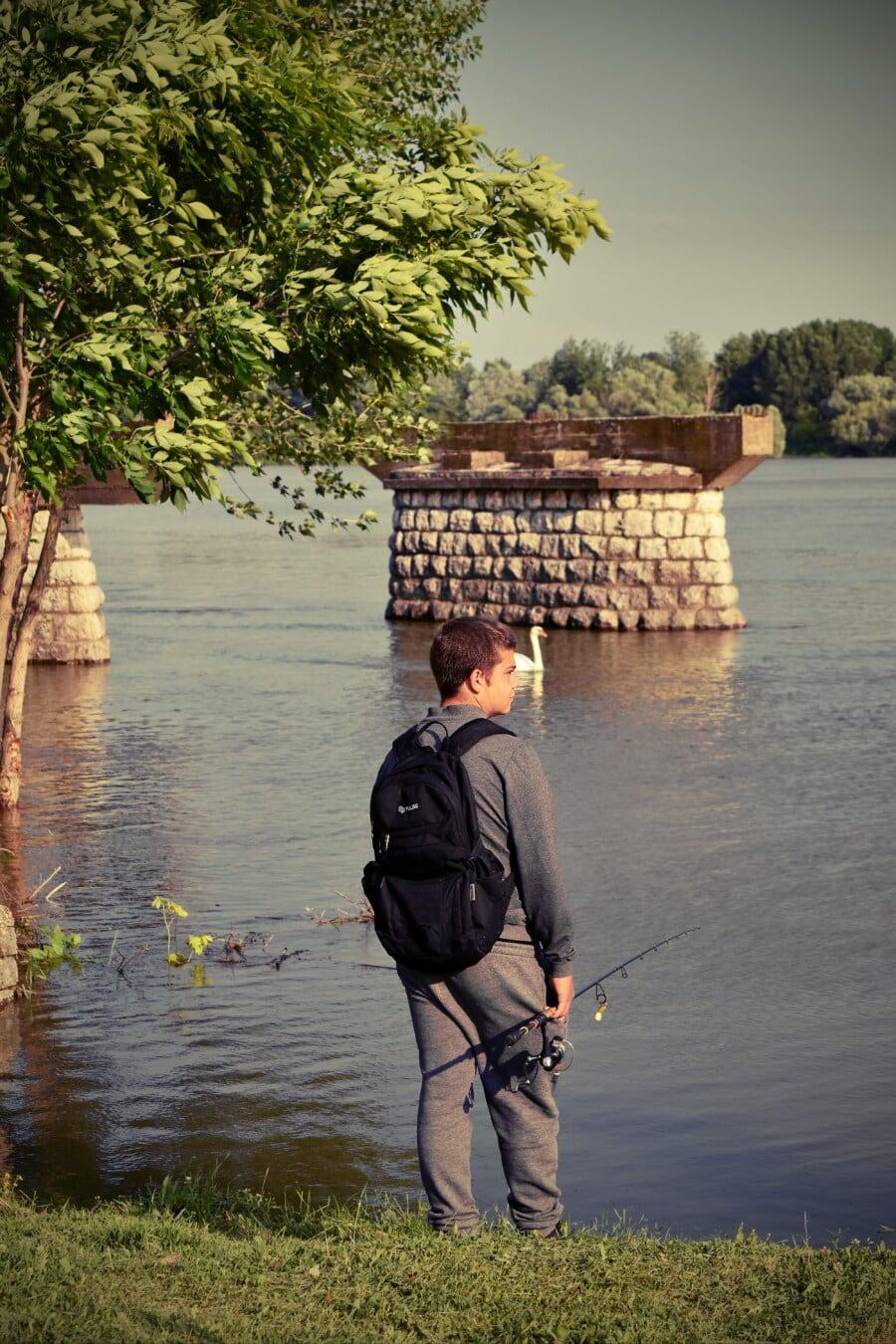mladý, chlapec, Rybolov, rybár, breh rieky, voda, Rekreácia, jazero, muž, Voľný čas