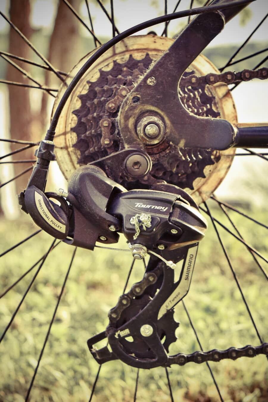 Changement de vitesse, vélo de montagne, les équipement, chaîne, roue, vélo, unité, vélo, vintage, vieux