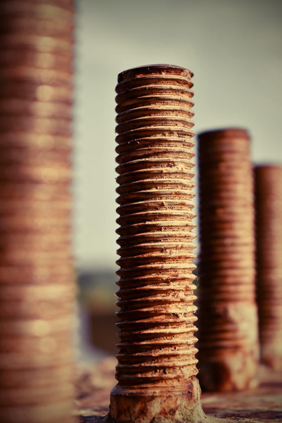 trục vít, chất tẩy rửa, thép, Gang đúc, kim loại, sắt, cũ, phân rã, bẩn, ngành công nghiệp