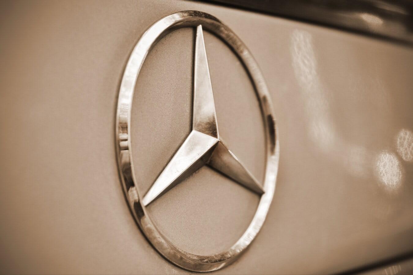 Allemand, symbole, voiture, signe, chrome, métalliques, tour, cercle, nostalgie, luxe