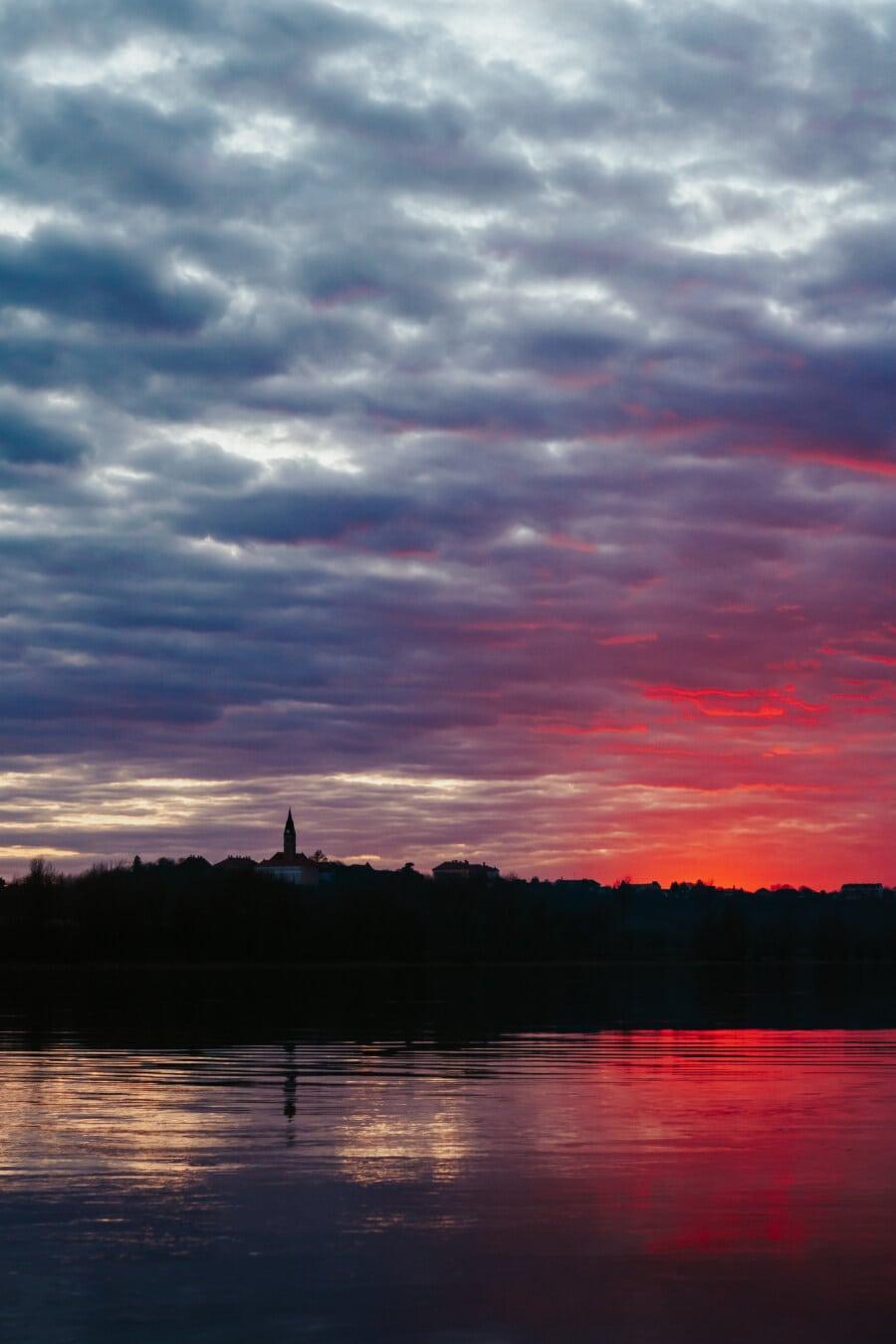 soumrak, východ slunce, řeka, majestátní, atmosféra, krajina, voda, západ slunce, reflexe, slunce