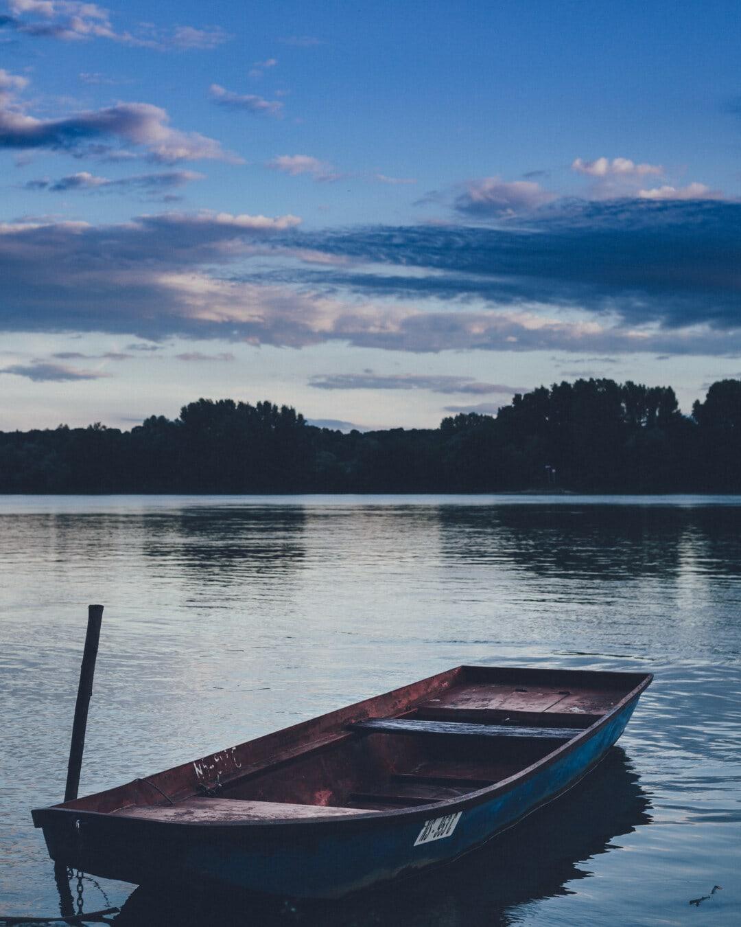 søen, båd, vand, landskab, refleksion, sommer, solnedgang, floden, bådene, naturskønne