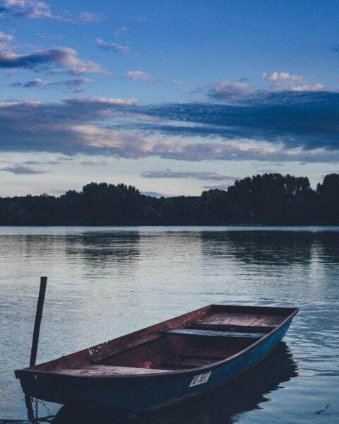 озеро, човен, води, краєвид, відбиття, літо, Захід сонця, Річка, човни, мальовничі