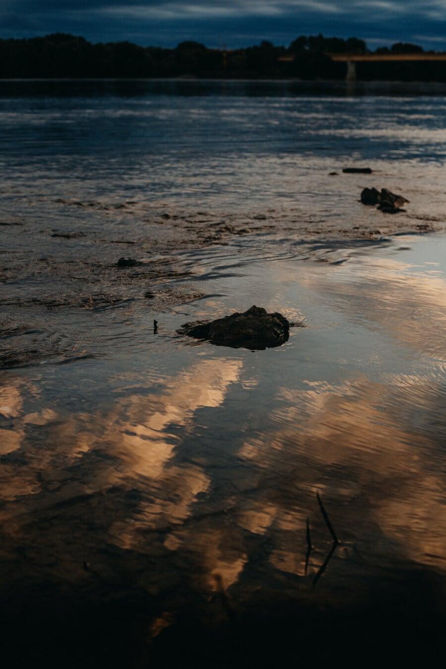reflection, night, riverbank, tide, tide water, twilight, sand, sunset, beach, water