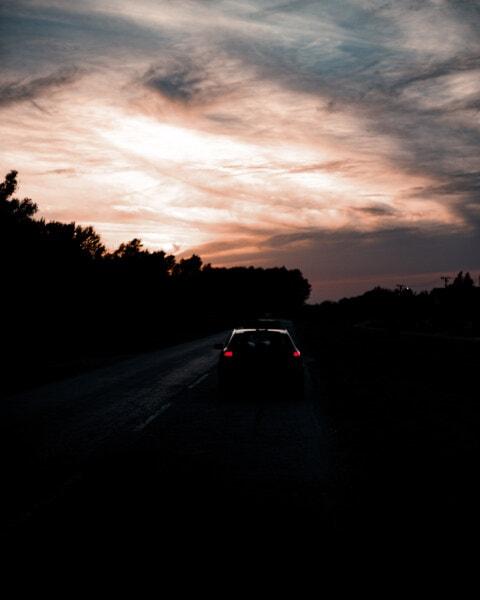 път, нощ, куче грозде, кола, асфалт, здрач, залез, облаците, пейзаж, автострада