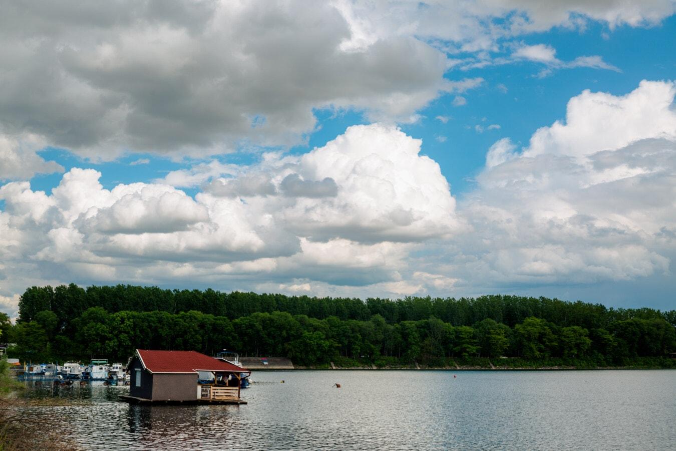 zone de villégiature, Parc national, au bord du lac, bateau, remise à bateaux, Lac, nature, bâtiment, eau, été