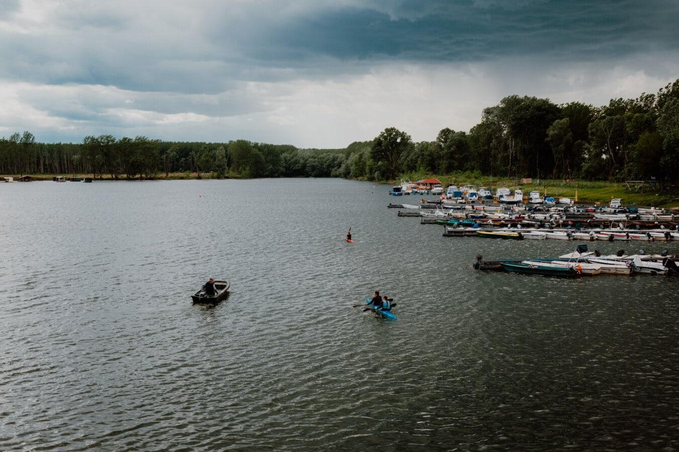 Becken, See, am See, Wasser, Fluss, Ufer, Wasserfahrzeuge, Kanu, Boot, Paddel