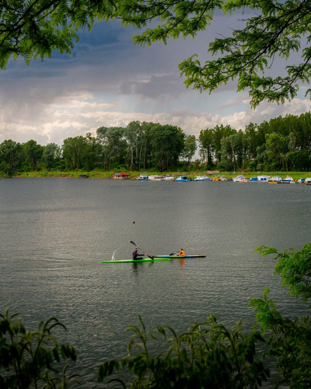 Kajak fahren, Kajak fahren, Wasser, See, Landschaft, Land, Kanu, Feuchtgebiet, Fluss, Paddel