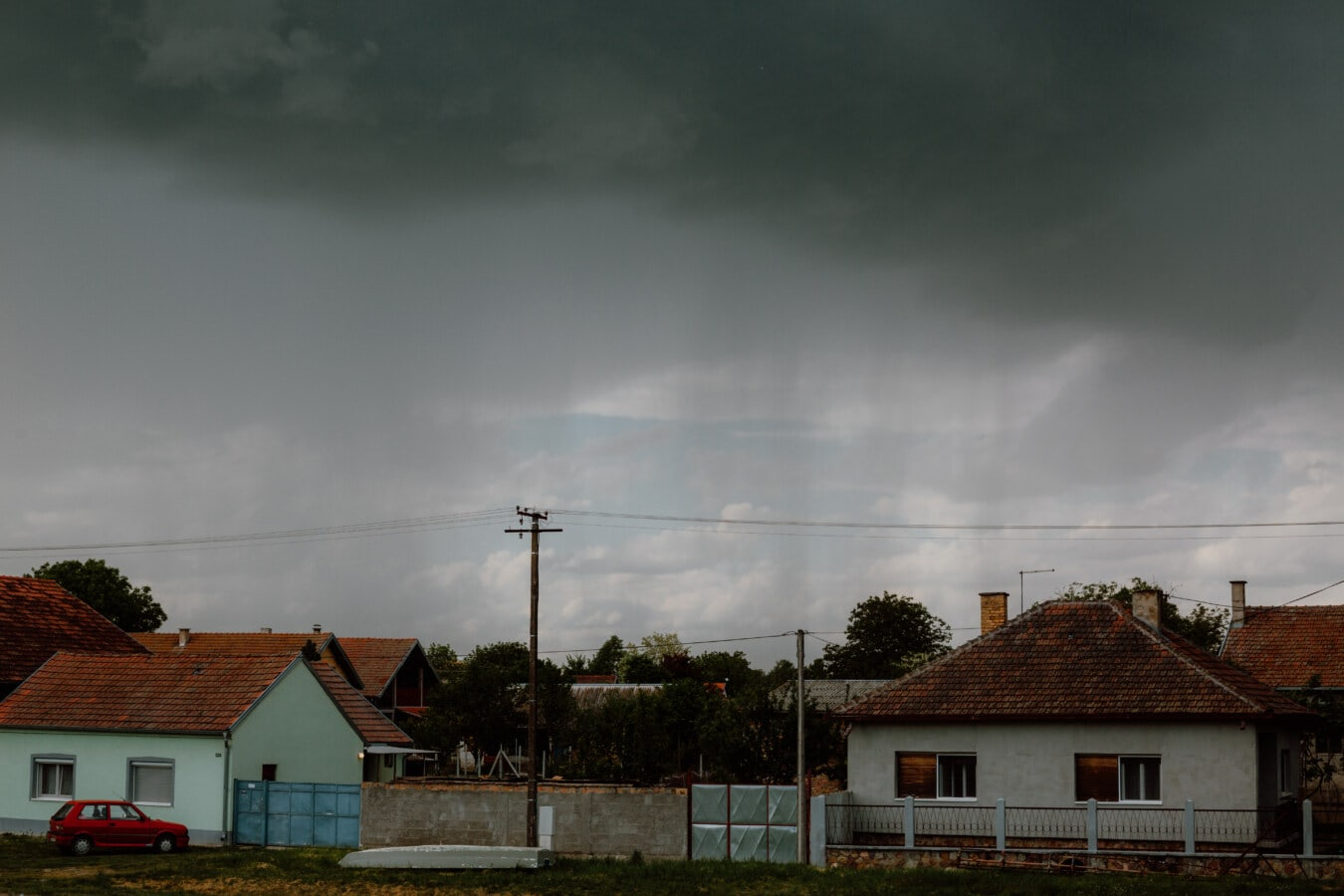 bad weather, cloudy, street, urban area, houses, home, storm, structure, house, building
