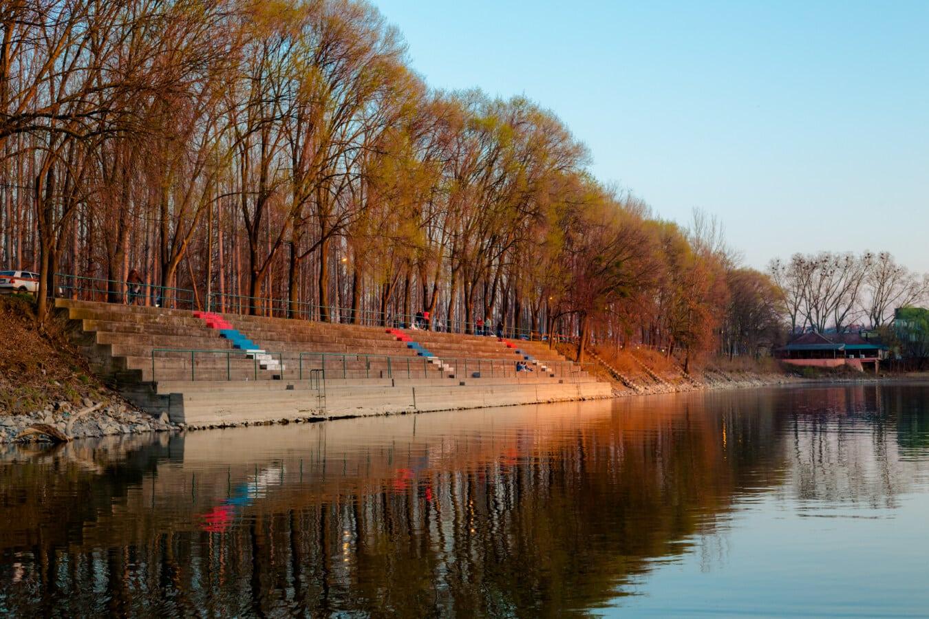 placide, atmosphère, calme, au bord du lac, escalier, Constitution, zone urbaine, rivière, arbre, paysage