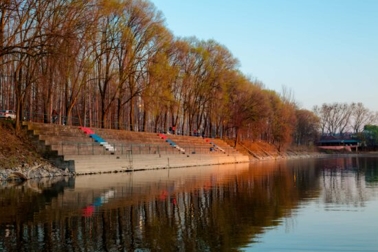 placid, atmosphere, calm, lakeside, staircase, constitution, urban area, river, tree, landscape