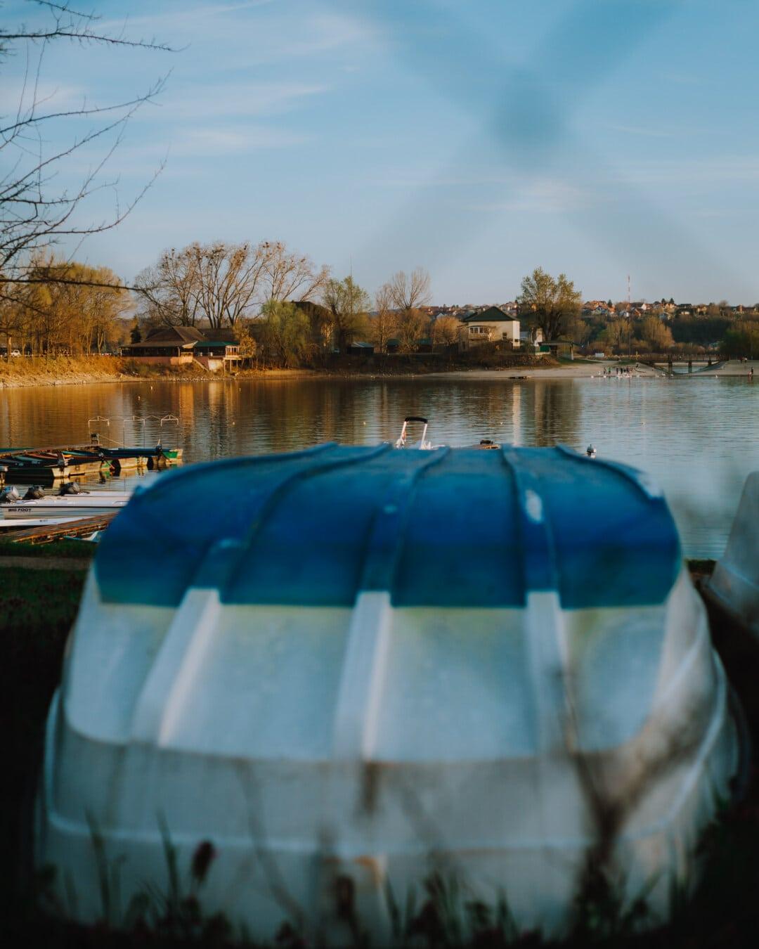 bateau, berge, rivière, bateau de rivière, heure d'été, zone de villégiature, eau, réflexion, nature, à l'extérieur