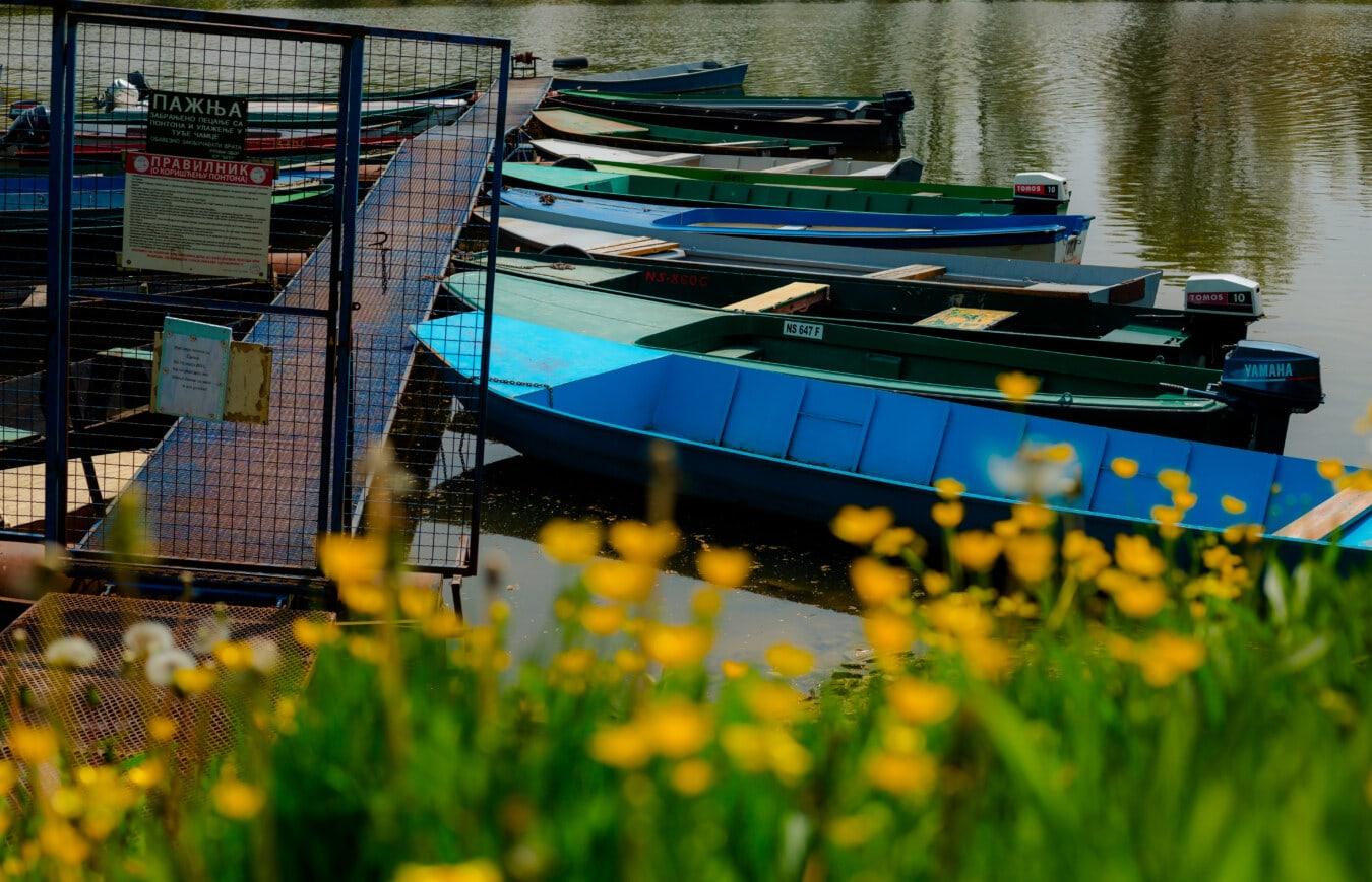canal, berge, rivière, bateau de rivière, eau, bateau, été, à l'extérieur, nature, coucher de soleil