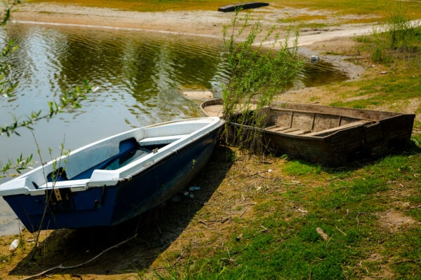 decay, abandoned, river boat, river, riverbank, spring time, water, boat, lake, nature