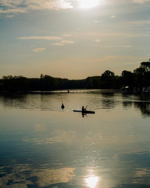 каяк, каяк, сянка, силует, Момче, залез, величествен, вечерта, река, зората