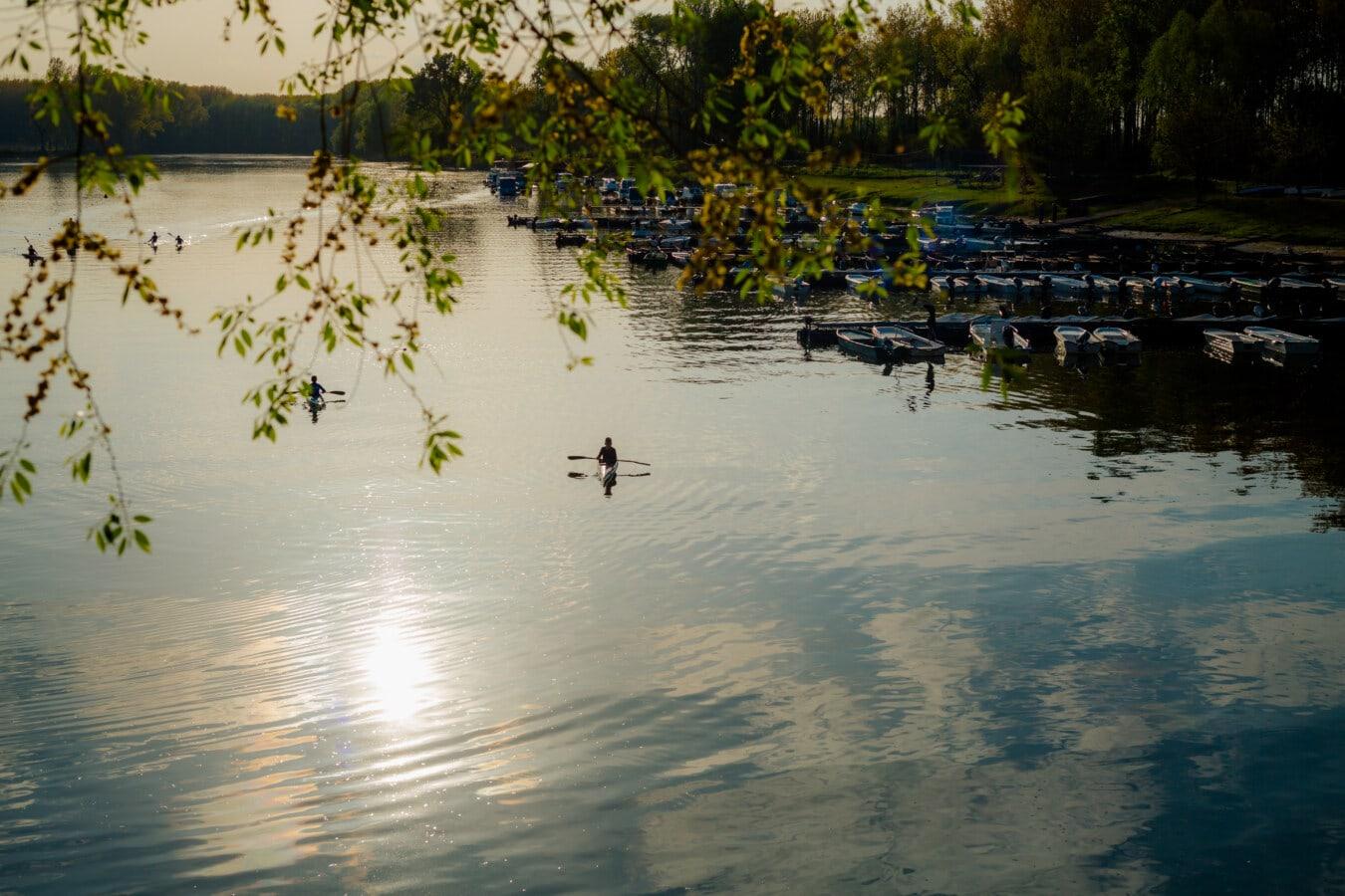 Dämmerung, Kajak fahren, Hafen, ruhig, Ruhe, Landschaft, Wasser, See, Reflexion, Becken