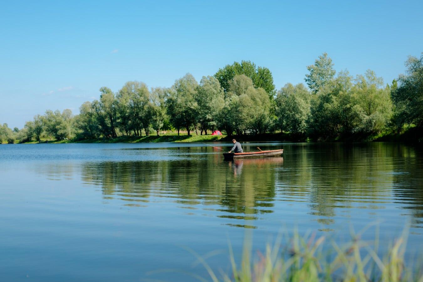 nelayan, perahu nelayan, tepi danau, Cuaca, Taman Nasional, pemandangan, pohon, Danau, air, refleksi