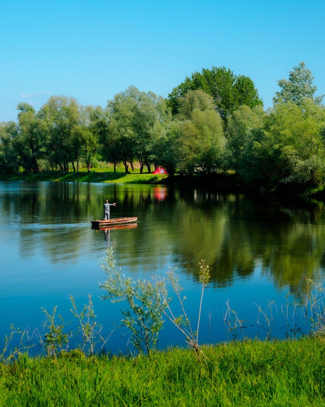 рибар, рибарска лодка, езеро, Риболов, национален парк, дърво, Шор, отражение, гора, пейзаж