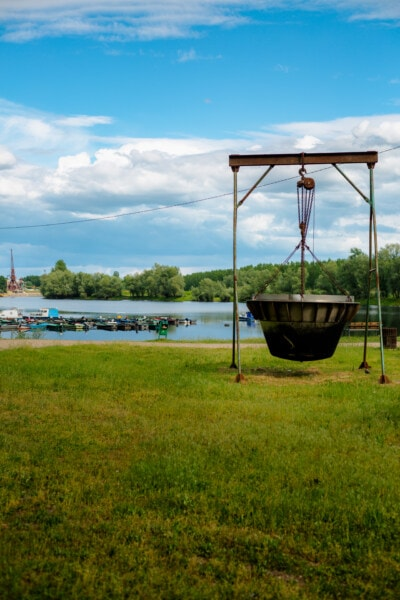industrial, object, lakeside, outdoor, mechanism, water, summer, grass, nature, outdoors