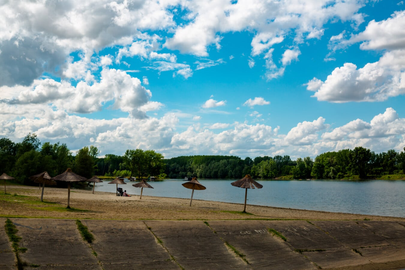 beach, parasol, lake, lakeside, spring time, clouds, atmosphere, water, nature, tree