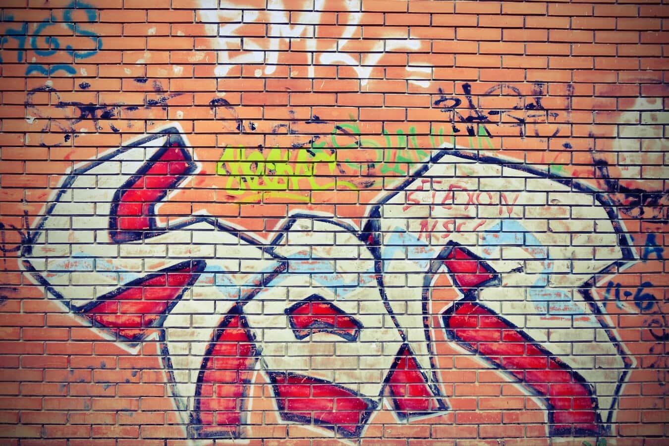 masonry, wall, bricks, vandalism, graffiti, decay, visual, abstract, brick, pattern