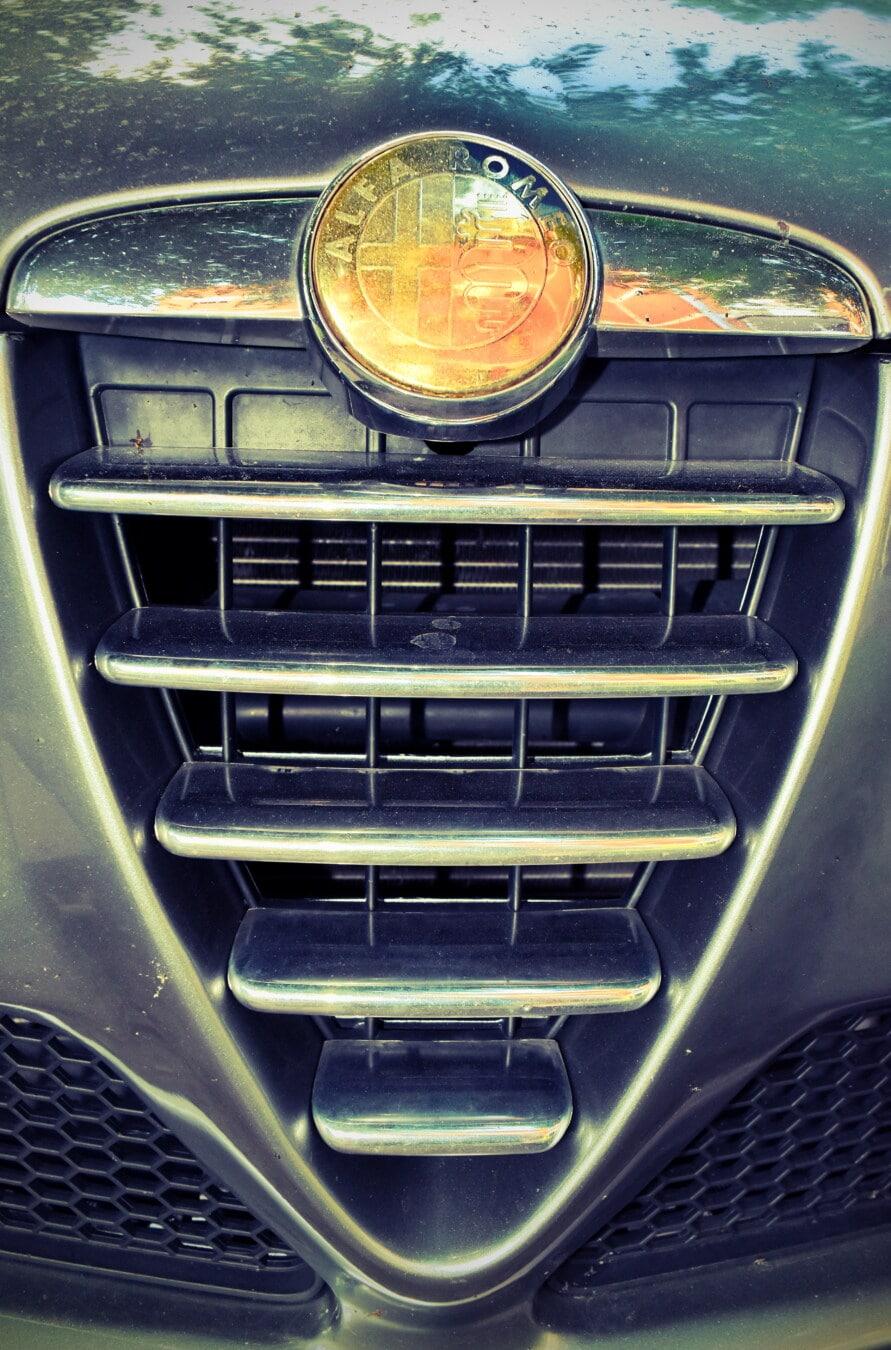 Alfa Romeo, golden shine, sign, grille, chrome, vehicle, automobile, hood, classic, car
