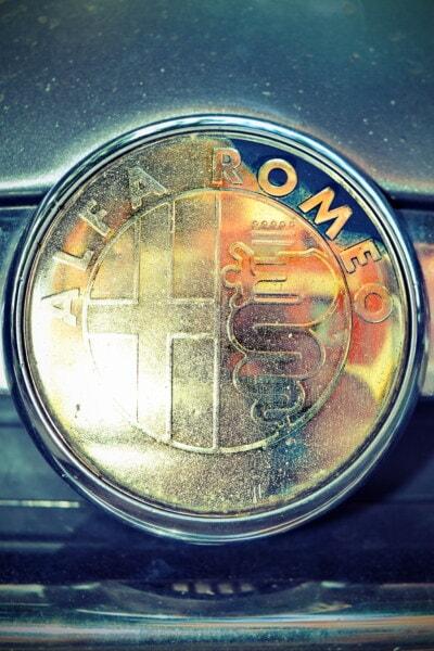 Alfa Romeo, symbol, tegn, blank, gylden glans, kromi, metallic, skinnende, bil, køretøj