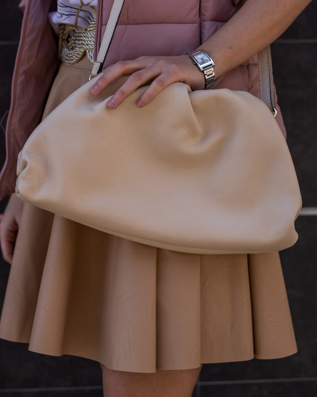 Handtasche, hellbraun, Pastell, Frau, Mädchen, Mode, Modell, Porträt, Glanz, Luxus