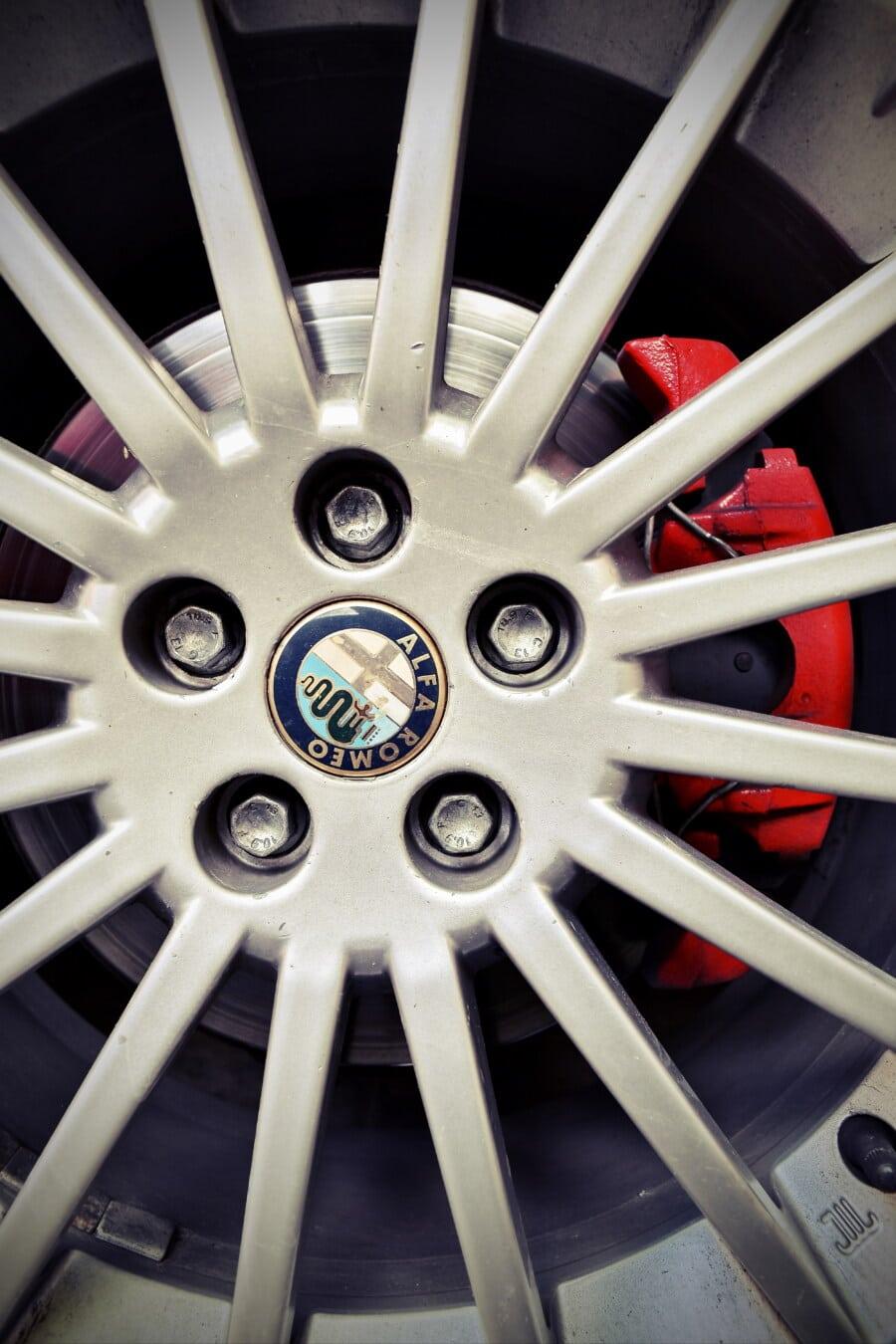 Alfa Romeo, Felge, aus nächster Nähe, Aluminium, Sport Auto, Rad, Gerät, Maschine, Stahl, Maschinen