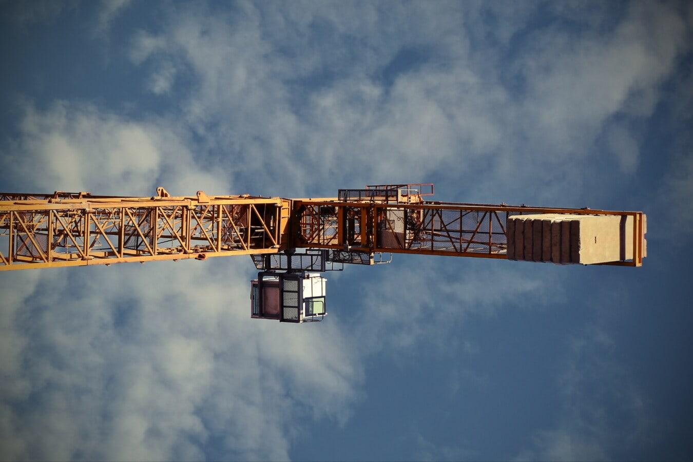 ciężkie, Żuraw, wysokie, stali, przemysł, urządzenia, Budowa, przemysłowe, architektura, na zewnątrz