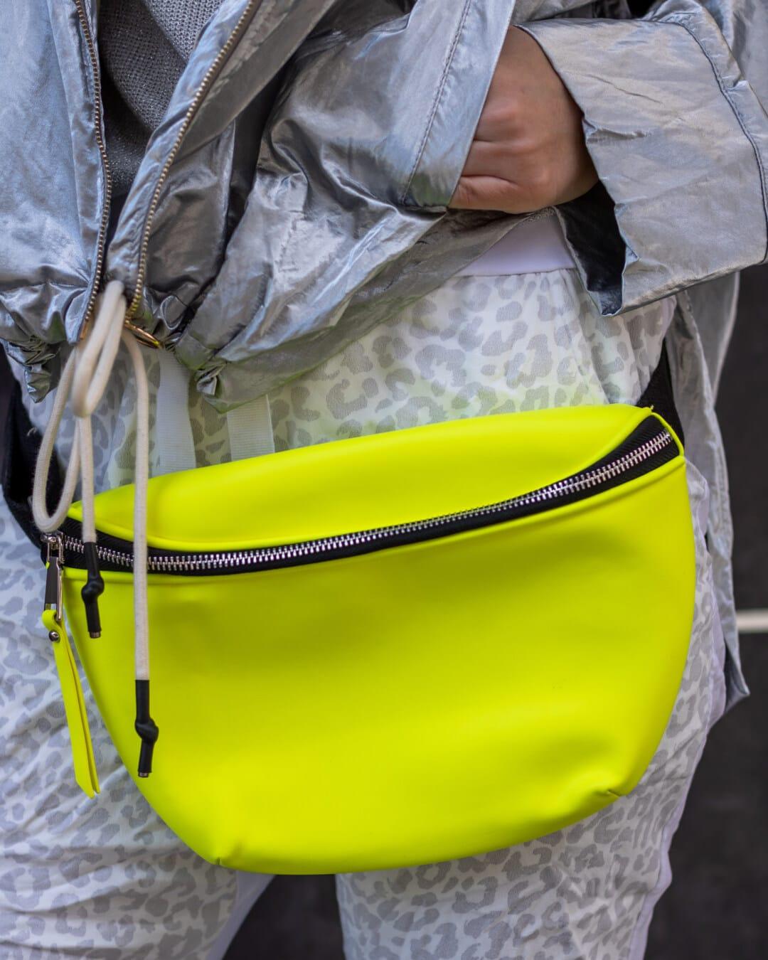 handbag, fancy, modern, yellow green, styling, outfit, jacket, grey, woman, plastic