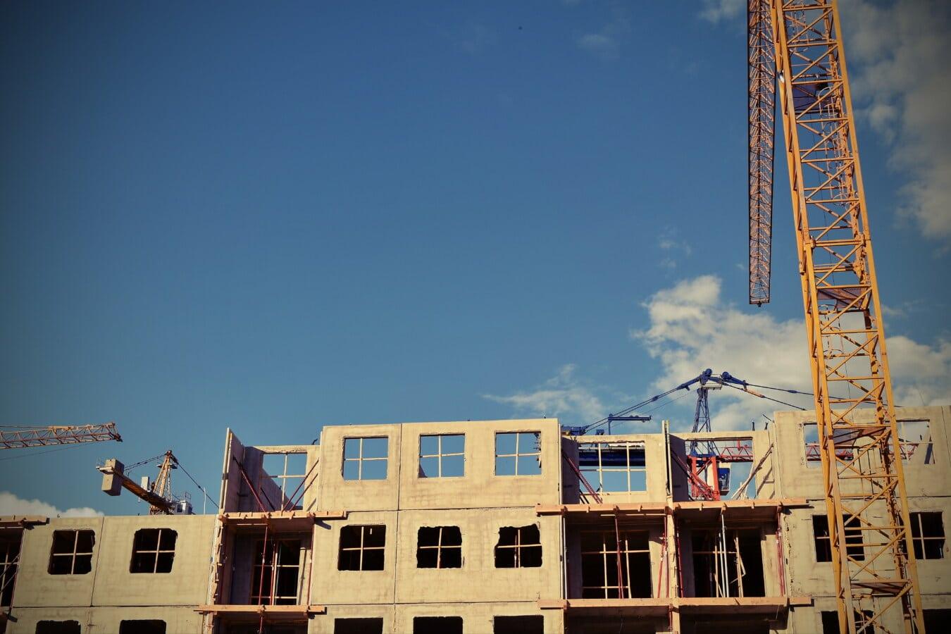 Gebäude, Branche, Entwicklung, Ingenieurwesen, Beton, Bau, Architektur, Gerät, Kran, Stahl