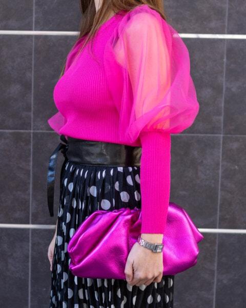 коприна, рамото, розово, пуловер, розово, полата, Черно и бяло, чанта, жена, мода