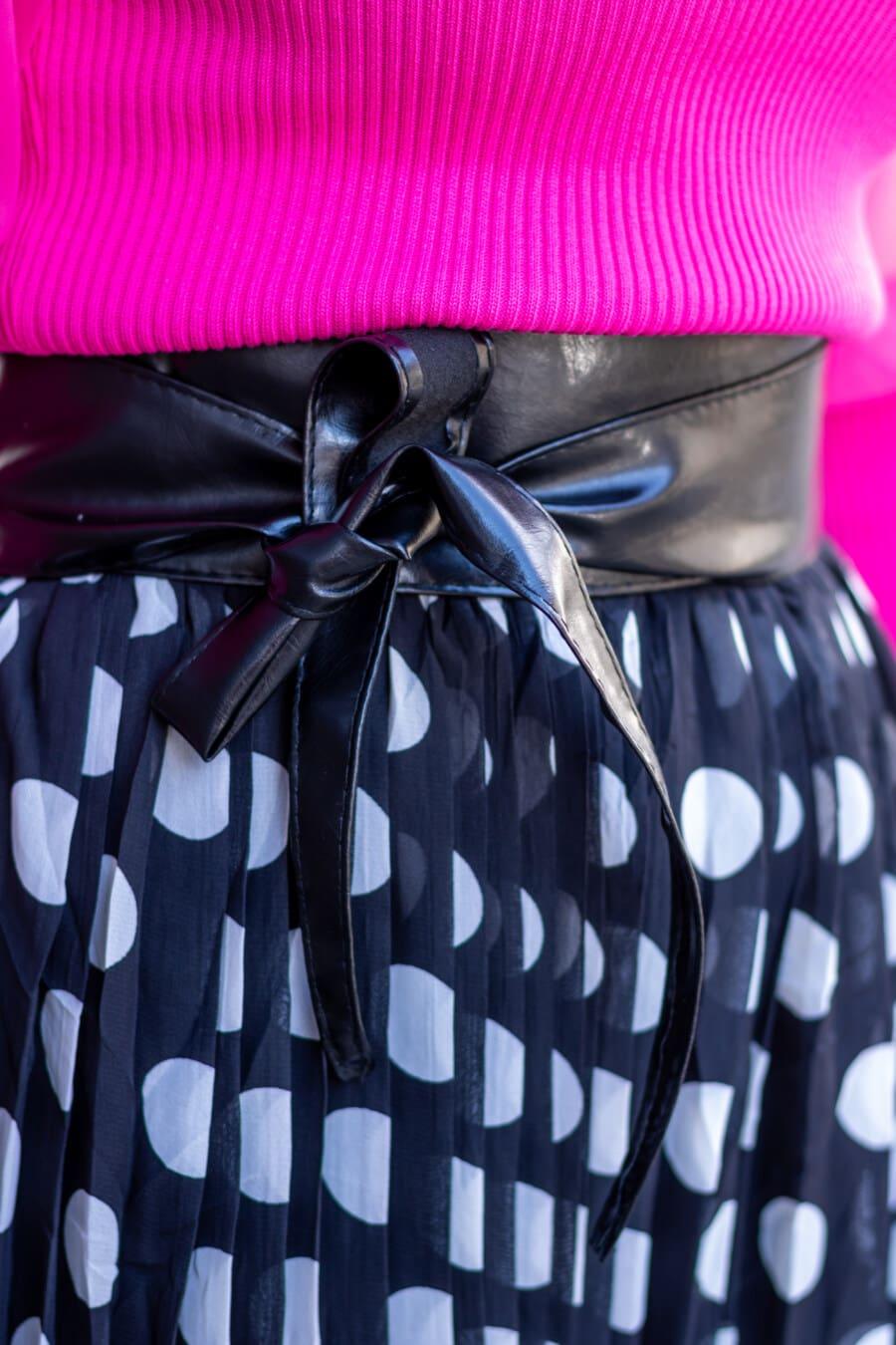 毛衣, 粉红色, 带, 黑, 皮革, 裙子, 黑白, 时尚, 优雅, 闪耀