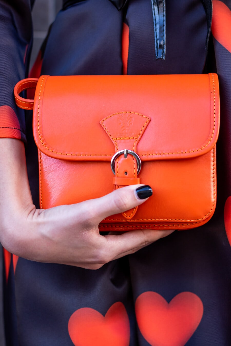 koža, narančasto žuta, torbu, modni, stil, odijelo, drži, ruka, žena, skladište