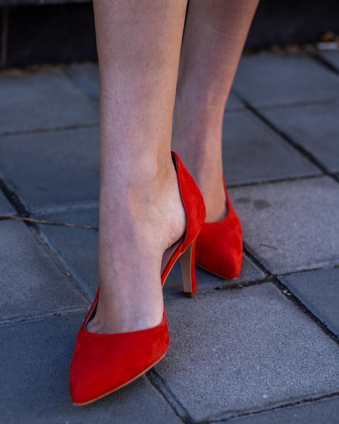 червен, класически, обувки, токчета, бос, крак, мода, момиче, обувки, жена