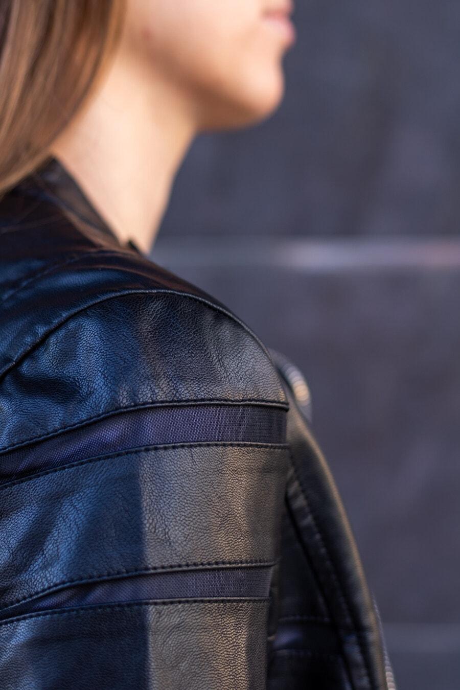 chaqueta, cuero, negro, hombro, chica, posando, moda, mujer, mochila, vertical