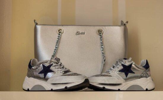 tênis, cinza, brilhando, fantasia, calçado, bolsa, moda, contêiner, couro, retrô