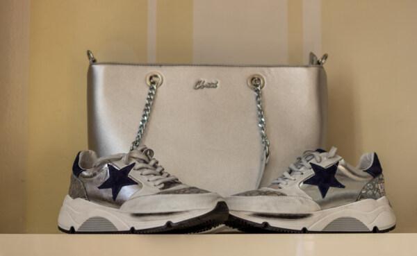 Кросівки, сірий, сяючий, фантазії, взуття, Сумочка, мода, контейнер, шкіряні, ретро
