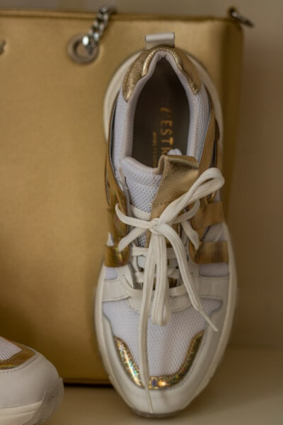 sneakers, shoelace, close-up, shining, golden shine, glossy, footwear, classic, shoe, leather