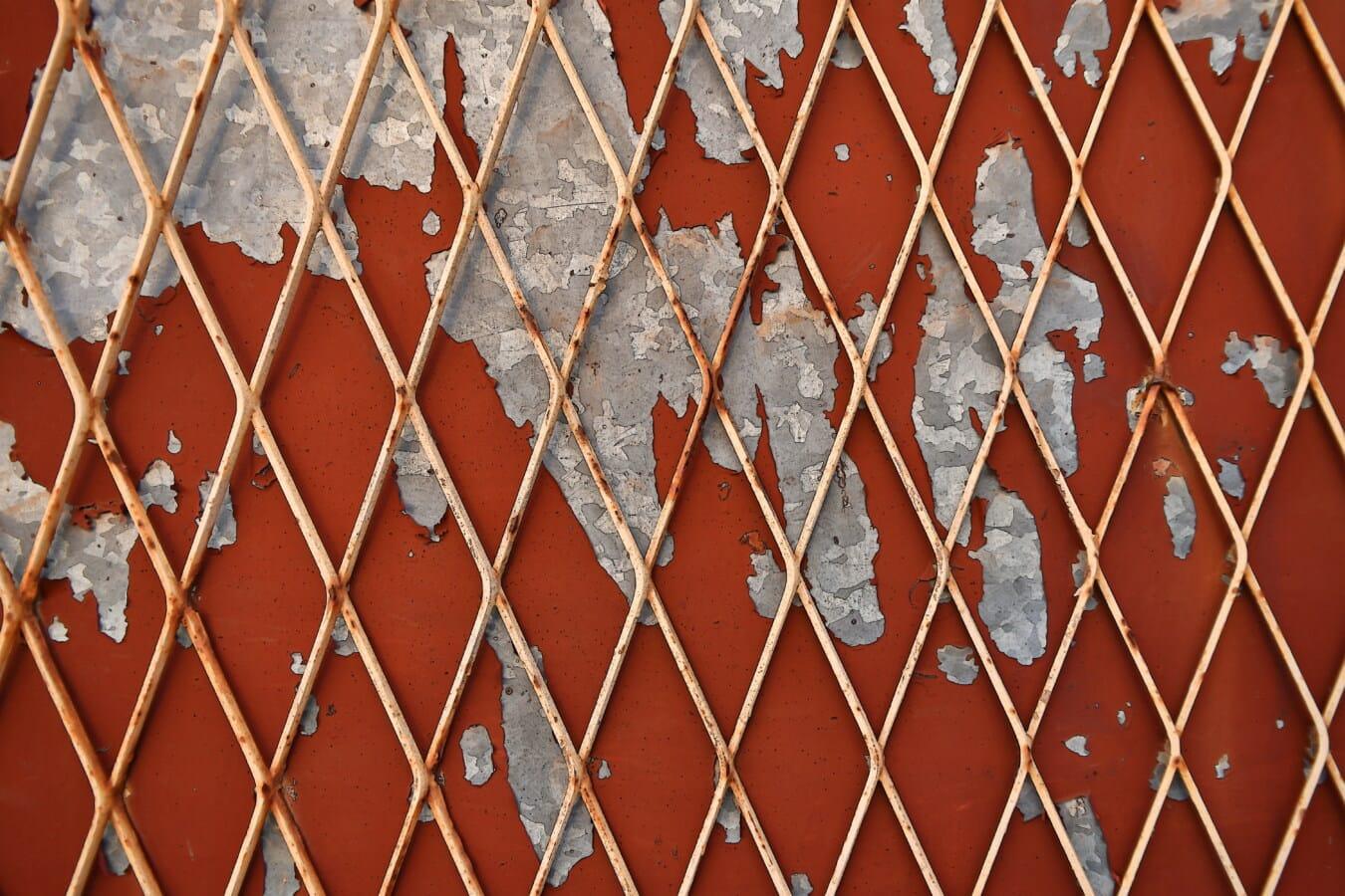 ograda, žice, hrđe, boja, metal, staro, propadanje, tekstura, prljavi, čelik