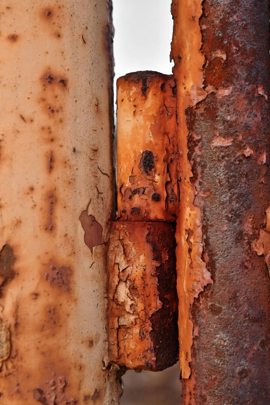 hrđe, lijevano željezo, propadanje, cijevi, tekstura, staro, željezo, prljavi, čelik, metalik