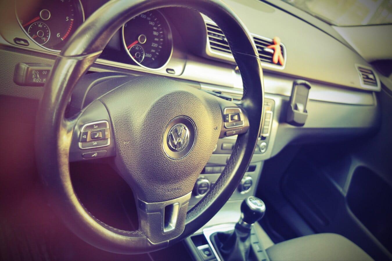volant de direction, voiture, tableau de bord, transport, véhicule, mécanisme de, en voiture, automobile, classique, chrome