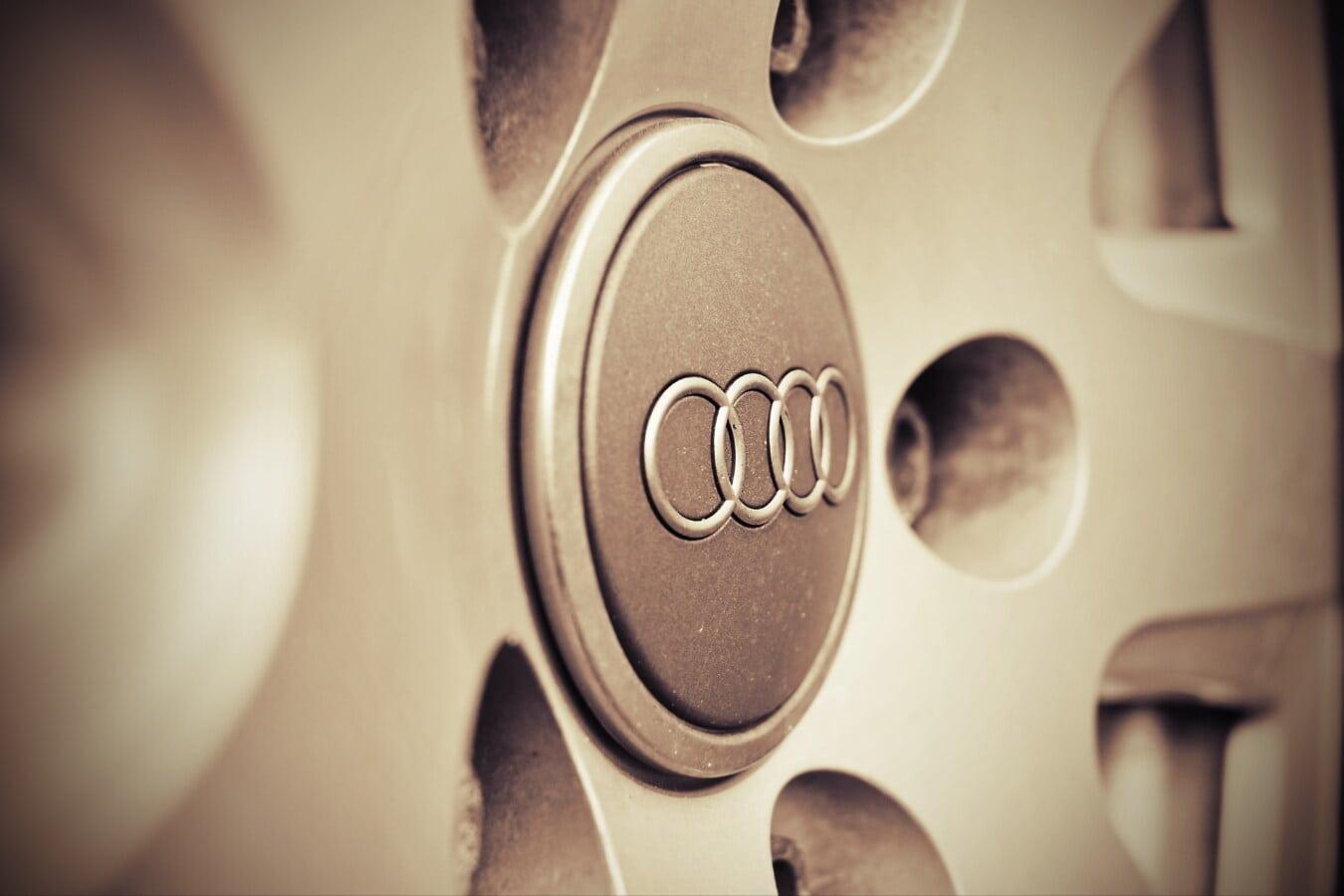 знак, автомобиль, Audi, символ, сепия, старый стиль, ностальгия, марочный, цвет, размытие