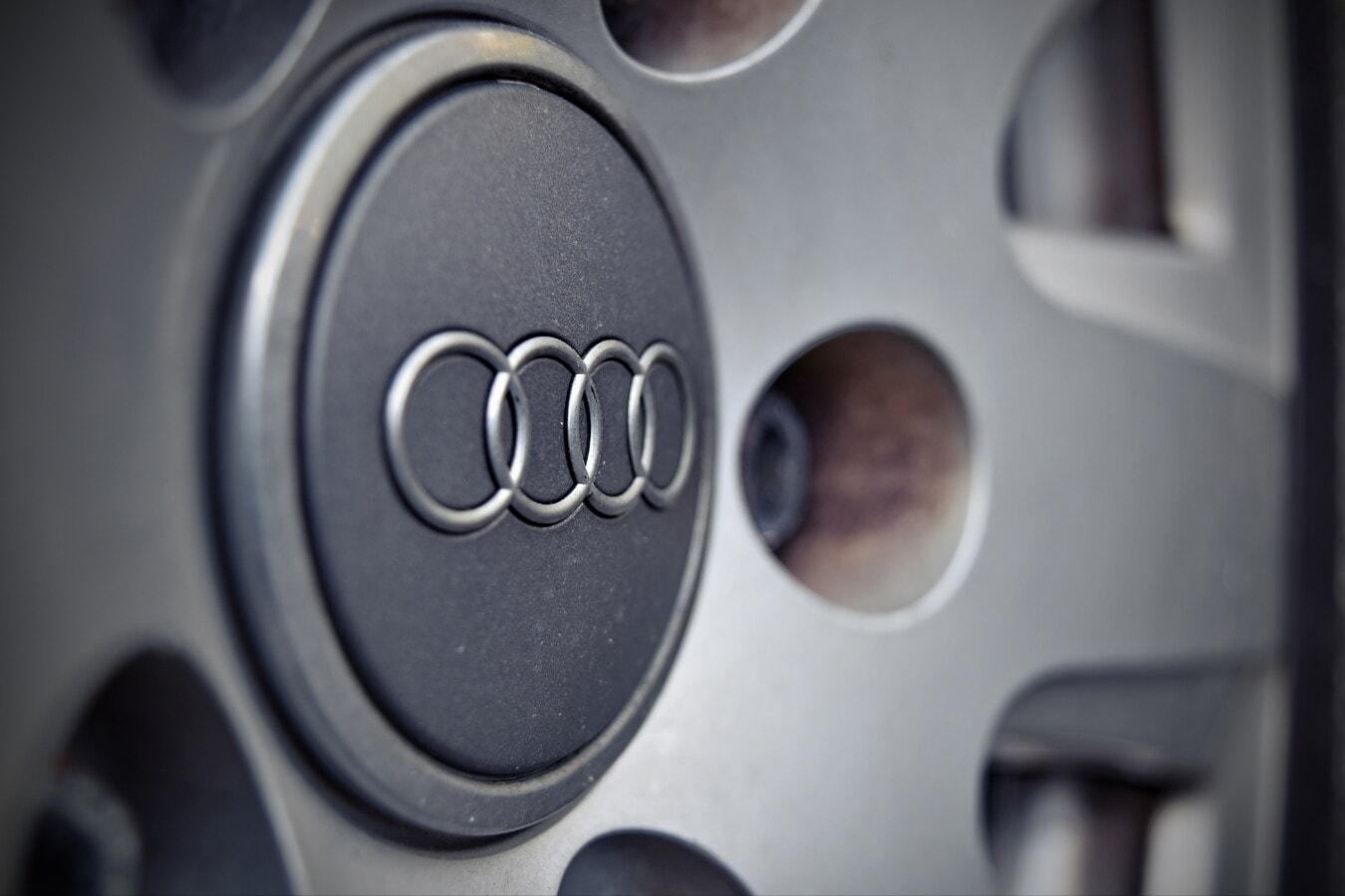 标志, 符号, 铝, 不锈钢, 奥迪, 近距离, 一轮, 圈子, 技术, 汽车
