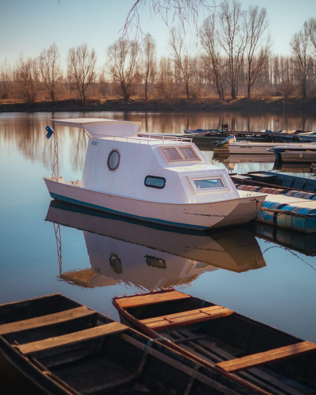 petit, Yacht, port, bateau à moteur, bateaux, mer, eau, Marina, bateau, Lac