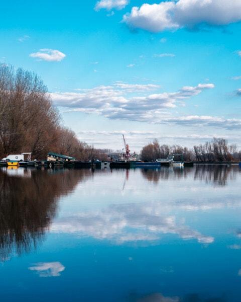 ship, shipyard, boats, landscape, lake, reflection, water, nature, outdoors, dawn