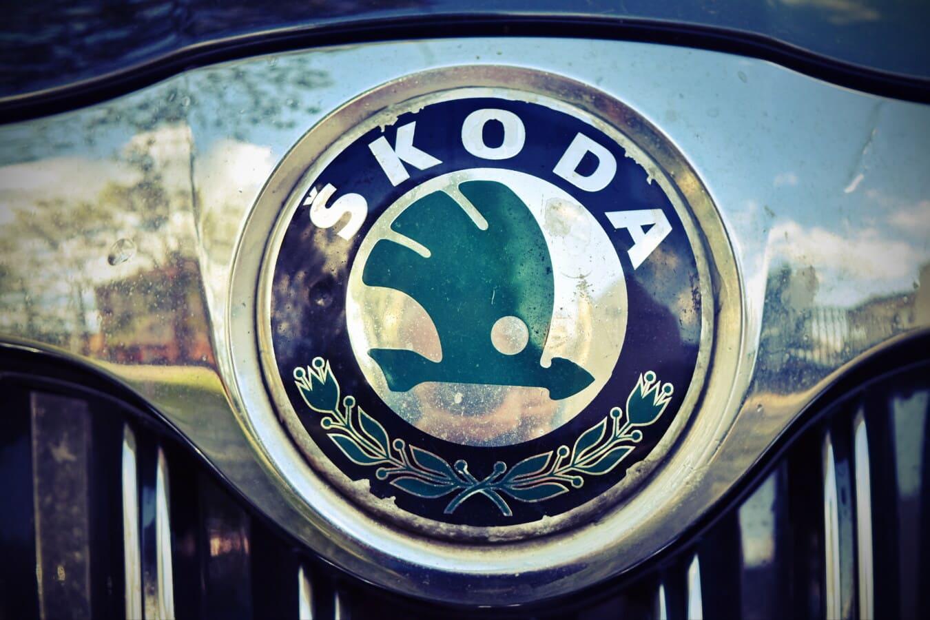 Skoda, chrome, métalliques, véhicule, signe, voiture, fermer, sedan, en détail, grille
